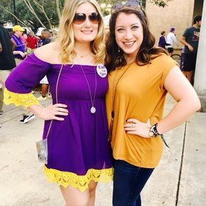 Purple off shoulder dress with gold crochet